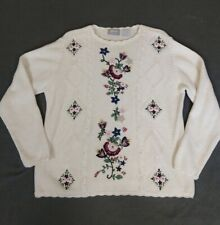 Vintage 80s Blair Embroidered Cardigan Sweater Popover White Floral Women L bead