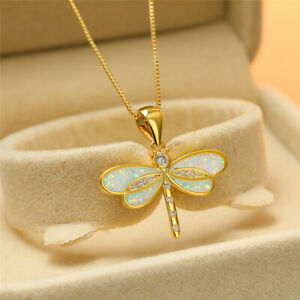 Fashion Gold Plated White simulated Opal Dragonfly Pendant Necklace Jewelry