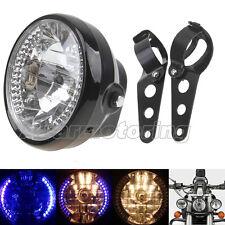 "7"" Motorcycle H4 Headlight LED Turn Signal Light Black Bracket Mount Cafe Racer"