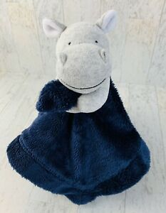 Carters Blue Grey Hippo Baby Blanket Soft Satin Rattle Security Lovey Gray