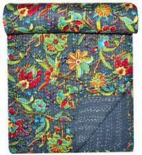 Indian Handmade Cotton Kantha Quilt King Size Daliya Print Bedspread Throw Home