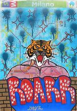 LadyK (Milano 1994) Milan subway map Graffiti Street Art ROARR TIGER MAN