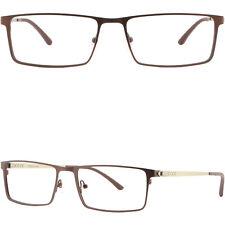 Damen Herren Brillengestell Titan Metall Brille Fassung Rechteckig Gestell Braun