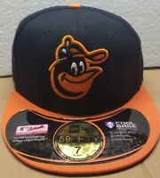 NEW! New Era Baltimore Orioles MLB Black/Orange Road Fitted Cap 59FIFTY Size 7