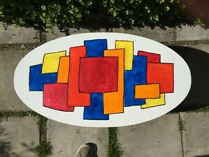 Original hand painted wooden children's play/low coffee table by Michael Sawdon