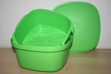 Tupperware  Multi Server Vintage Square Steamer with Insert Microwave Green New