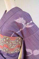 Kimono Silk Tsukesage & Silk Hitoe Obi SET / Purple Pink Women Japanese Vintage