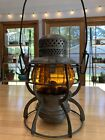 Great Northern Armspear railroad lantern with original amber etched globe!
