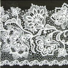 4x Gloria Lace Neg Black Paper Napkins for Decoupage Craft