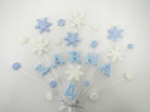Snowflake, frozen, birthday, christmas cake topper, personalised any name,  age