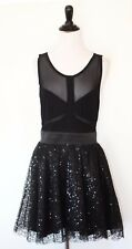 Bebe Addiction Black Sequin Sheer Mesh Dress L
