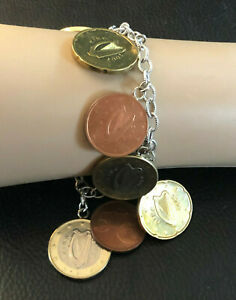 """Sterling Silver Bracelet Coins of the World Europe MILOR Italy 8"""" 57g 925 #1286"""