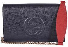 New Gucci Women's 407041 Blue Colorblock Leather MINI Soho Chain Wallet Purse