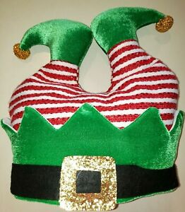boys girls adults CHRISTMAS ELF HAT NEW NWT red LEGS GOLD POM POMS BELT 8 AND UP