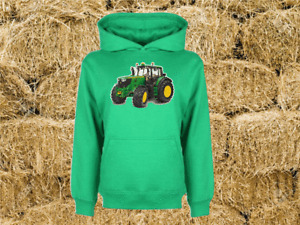 John Deere New Hoodie Tractor Combine Farm Heavyweight Sweat Childs All Sizes