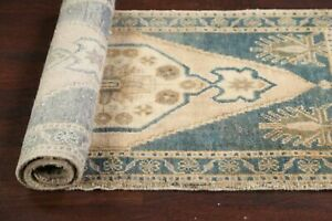 """Excellent Vintage Muted 2'x4' Geometric Anatolian Turkish Wool Rug 3' 6"""" x 1' 7"""""""