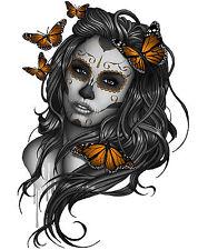 SK22 Bügelbild Bügeltransfer Sugar Skull Girl  Butterfly alle Stoffe DIN A5 A4