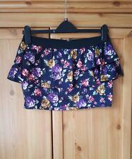 ZARA TRAFALUC Peplum Mini Falda Negro Púrpura Amarillo Rosa Talla M