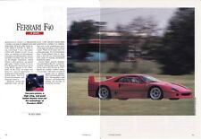 1988 FERRARI F40 LEMANS  ~  GREAT ORIGINAL 6-PAGE ARTICLE / AD