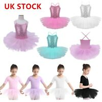 UK Kids Girls Ballet Dance Tutu Dress Lyrical Ballerina Leotards Mesh Dancewear