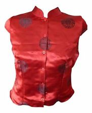C&A Clockhouse Ladies Chinese Oriental Style Blouse Top - Red  UK 10   Eur 36