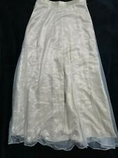 Beige Satin And Mesh Overlay Long Skirt