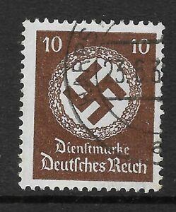 GERMANY 10Pfg Brown HITLER ERA SWASTIKA Stamp USED (No 2)