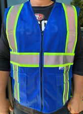 Blue Two Tones Safety Vest With Multi Pocket Tool