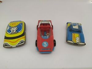 3 SOVIET plastic and tin racing CARS VINTAGE 1980s USSR