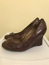 Me Too Womens Shoes Layna Brown Glazed Goat Leather Wedges Size 8.5