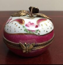 Beautiful Limoges France Chamart Trinket Box Apple with Brass Leaves
