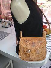 Tooled Saddle Leather Cross Body Bag - BOHO HIPSTER  FLAP BAG VERY LIGHTWEIGHT