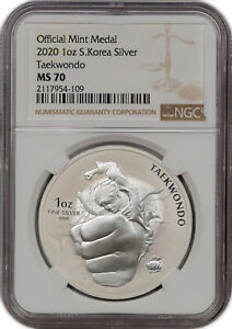 2020 OFFICIAL MINT MEDAL 1OZ S.KOREA SILVER TAEKWONDO NGC MS 70 FINEST KNOWN...