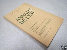 ANNALES DE L EST 1968 N° 3 METAMORPHOSES DU PATRONYME DE CERTAINS COLONS LORRAIN