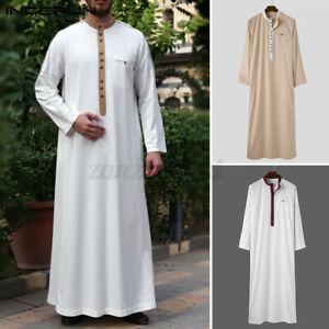 Retro Herren Jubba Kaftan Dishdash Arabische Islamische Kleidung Thobe Saudi Top