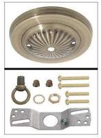 "NEW  5"" Antique Brass Embossed steel ceiling canopy w/Loop  & Hardware kit"