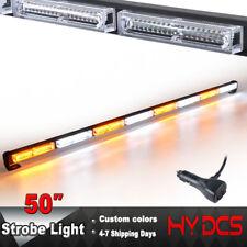 "50"" 144W LED Emergency Warn Hazard Traffic Advisor Strobe Light Bar Amber White"