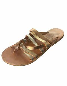 Ancient Greek Afea Metallic Slide Sandals 38 8 Gold Leather Womens shoes flats