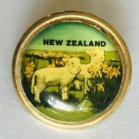 New Zealand Sheep Among Daffodil Flowers Souvenir Pin Badge Rare Vintage (A12)