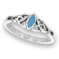 Sterling Silver Celtic Turquoise Ring - Free Gift Packaging