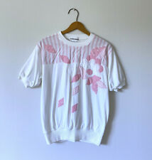 Small - Vintage 80s Baby Pink Floral Striped Ringer Blouse Top