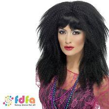 1980s BLACK TRADEMARK CRIMP WIG LAYERED LONG ladies womens fancy dress costume