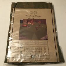 """Green & Gold Tablecloth leaves oblong 52"""" x 70"""" new in package leaf pattern"""