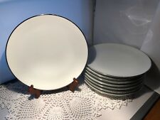 "JOHANN HAVILAND SILVER WEDDING BAND 10"" DINNER PLATES SET 8 (P2130E)"