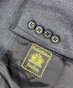 Oxxford Clothes Suit Mens US 50R Pants 44x29 Gray Striped Super 100s Wool EXC!