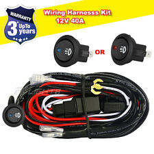 12V 40A Harness Wiring Kit Loom Fuse Relay With Round Rocker Switch For 2 Lights
