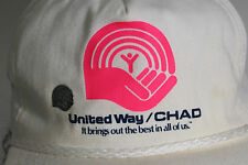 Vintage White United Way/Chad Hat Baseball Cap & United Way Vintage Hat Pin