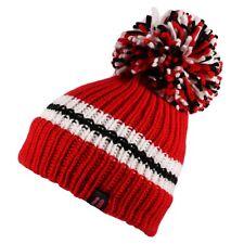 Unisex Ribbed Knit Big Bobble Striped Pom Pom Beanie Hat Cap