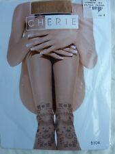 collant CHERIE beige voile avec effet tatouage à la cheville taille M/2
