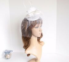 Church Derby Wedding Sinamay w Feathers & Veil Fascinator Cocktail White533